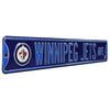 Winnipeg Jets Steel Street Sign with Logo-WINNIPEG JETS AVE navy logo