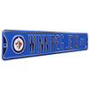 Winnipeg Jets Steel Street Sign with Logo-WINNIPEG JETS AVE blue logo