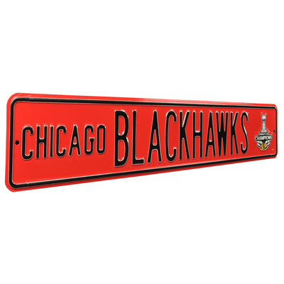 Chicago Blackhawks Steel Street Sign with Logo-2013 SC Champions
