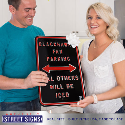 Chicago Blackhawks Steel Parking Sign-ALL OTHER FANS ICED