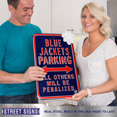 Columbus Blue Jackets Steel Parking Sign-ALL OTHER FANS PENALIZED