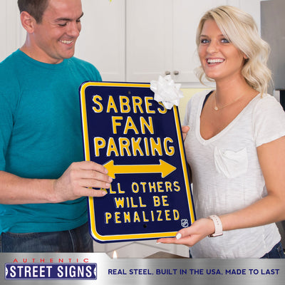 Buffalo Sabres Steel Parking Sign-ALL OTHER FANS PENALIZED