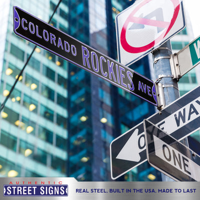 Colorado Rockies Steel Street Sign-COLORADO ROCKIES AVE