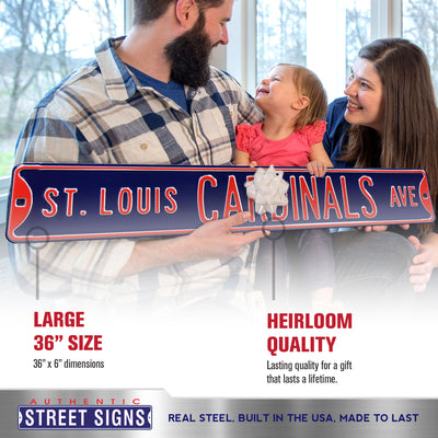 St Louis Cardinals Steel Street Sign-St Louis CARDINALS AVE on Navy