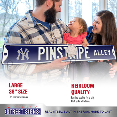 New York Yankees Steel Street Sign with Logo-PINSTRIPE ALLEY w/NY Logo