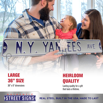 New York Yankees Steel Street Sign-NY YANKEES AVE on Gray
