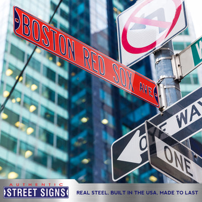 Boston Red Sox Steel Street Sign-BOSTON RED SOX AVE on red
