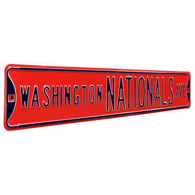 Washington Nationals Steel Street Sign-WASHINGTON NATIONALS on Red
