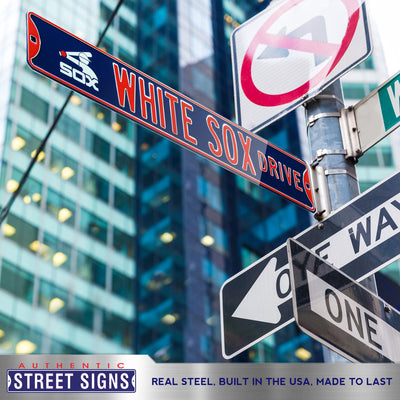 Chicago White Sox Steel Street Sign with Logo-WHITE SOX DRIVE w/ Batterman Logo