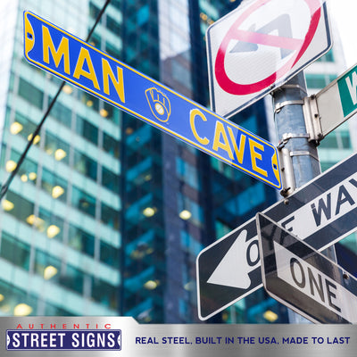 Milwaukee Brewers Steel Street Sign with Logo-MAN CAVE