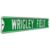 Chicago Cubs Steel Street Sign-WRIGLEY FIELD on Green
