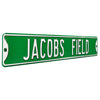 Cleveland Indians Steel Street Sign-JACOBS FIELD on Green