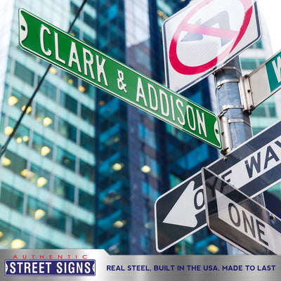 Chicago Cubs Steel Street Sign-CLARK & ADDISON