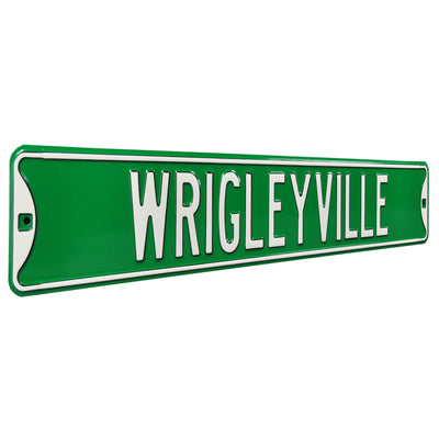 Chicago Cubs Steel Street Sign-WRIGLEYVILLE