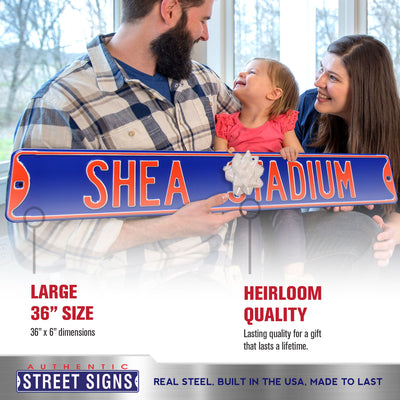 New York Mets Steel Street Sign-SHEA STADIUM on Blue