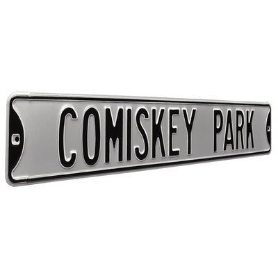 Chicago White Sox Steel Street Sign-COMISKEY PARK on Silver