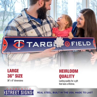 Minnesota Twins Steel Street Sign with Logo-TARGET FIELD w/Logo