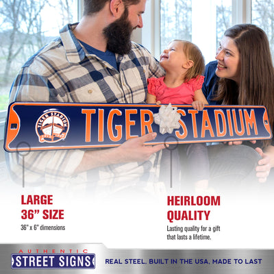 Detroit Tigers Steel Street Sign with Logo-TIGER STADIUM w/1999 Logo