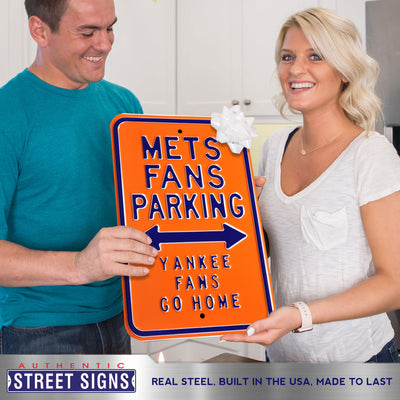 New York Mets Steel Parking Sign-YANKEES FANS GO HOME