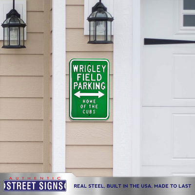 Chicago Cubs Steel Parking Sign-WRIGLEY/FIELD/HOME