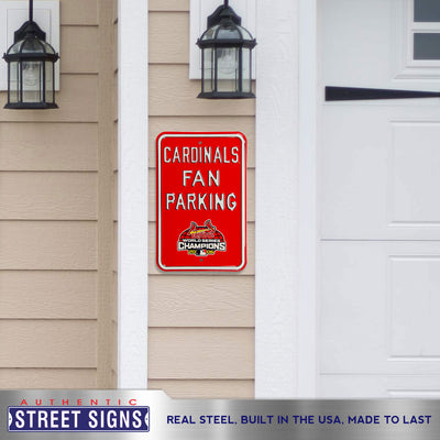 St Louis Cardinals Steel Parking Sign with Logo-FAN PARKING w/WS Logo