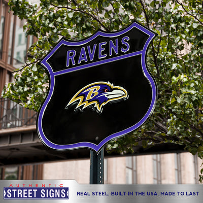 Baltimore Ravens Steel Route Sign