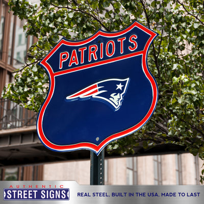 New England Patriots Steel Route Sign