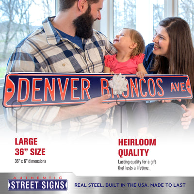Denver Broncos Steel Street Sign-DENVER BRONCOS AVE