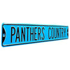 Carolina Panthers Steel Street Sign Throwback Colors-PANTHERS COUNTRY