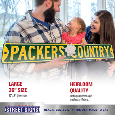 Green Bay Packers Steel Street Sign-PACKERS COUNTRY