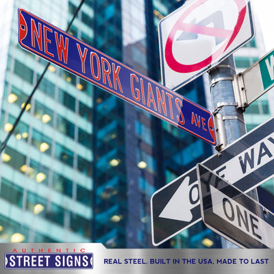 New York Giants Steel Street Sign-NEW YORK GIANTS AVE on Blue