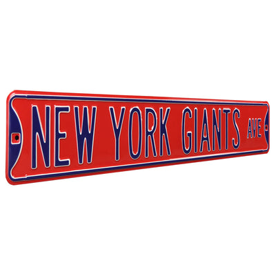 New York Giants Steel Street Sign-NEW YORK GIANTS AVE on Red