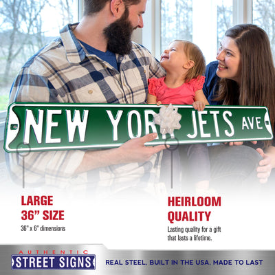 New York Jets Steel Street Sign-NEW YORK JETS AVE