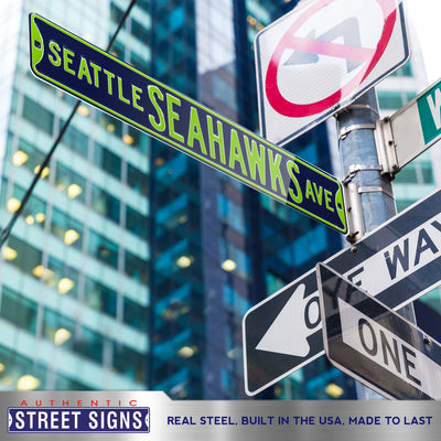 Seattle Seahawks Steel Street Sign-SEATTLE SEAHAWKS AVE