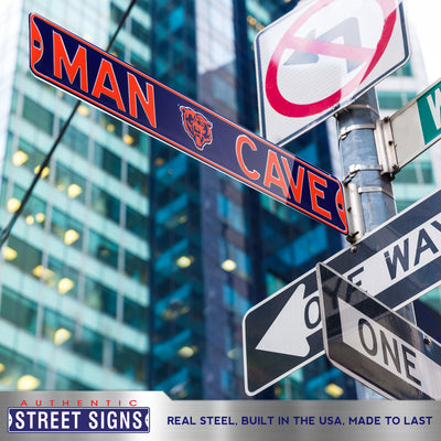 Chicago Bears Steel Street Sign with Bearhead Logo-MAN CAVE
