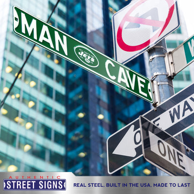 New York Jets Steel Street Sign with Logo-MAN CAVE