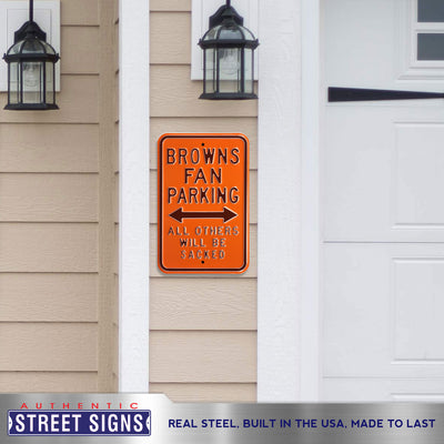 Cleveland Browns Steel Parking Sign-ALL OTHERS WILL BE SACKED