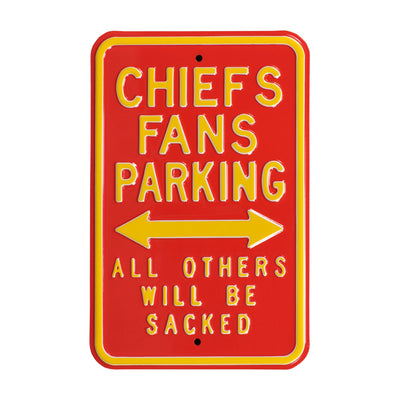 Kansas City Chiefs Steel Parking Sign-ALL OTHERS WILL BE SACKED