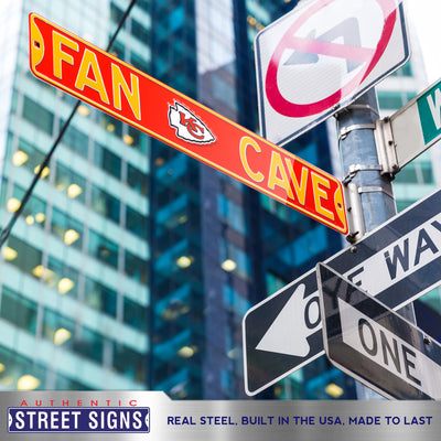 Kansas City Chiefs Steel Street Sign with Logo-FAN CAVE