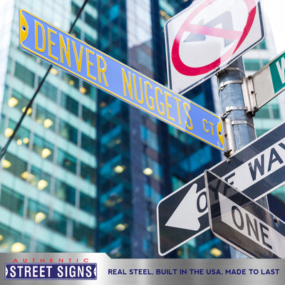 Denver Nuggets Steel Street Sign Throwback Colors-DENVER NUGGETS CT
