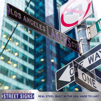 Los Angeles Lakers Steel Street Sign-LOS ANGELES LAKERS CT on Black