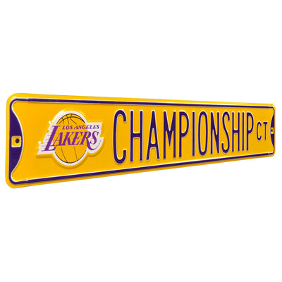 Los Angeles Lakers Steel Street Sign with Logo-CHAMPIONSHIP CT