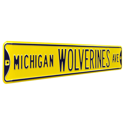 Michigan Wolverines Steel Street Sign-MICHIGAN WOLVERINES AVE on Yellow