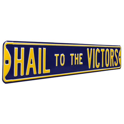 Michigan Wolverines Steel Street Sign-HAIL TO THE VICTORS