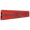 Arkansas Razorbacks Steel Street Sign-RAZORBACKS DR on Red