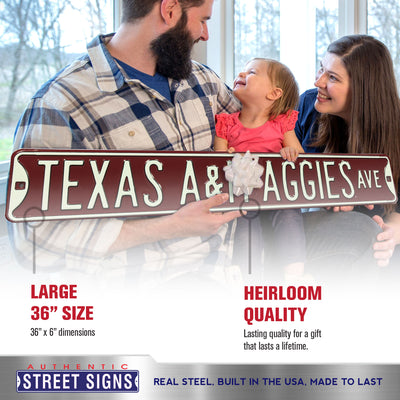 Texas A&M Aggies Steel Street Sign-TEXAS A&M AGGIES AVE