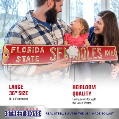 Florida State Seminoles Steel Street Sign-FSU SEMINOLES AVE on Maroon