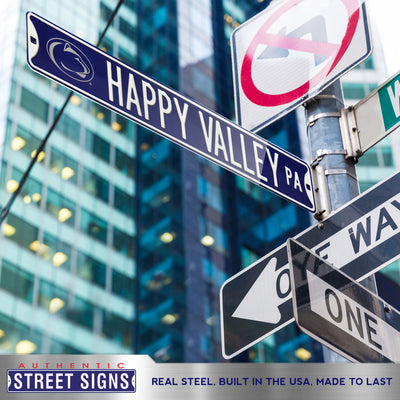Penn State Nittany Lions Steel Street Sign with Logo-HAPPY VALLEY