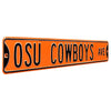 Oklahoma State Cowboys Steel Street Sign-OSU COWBOYS AVE on Orange