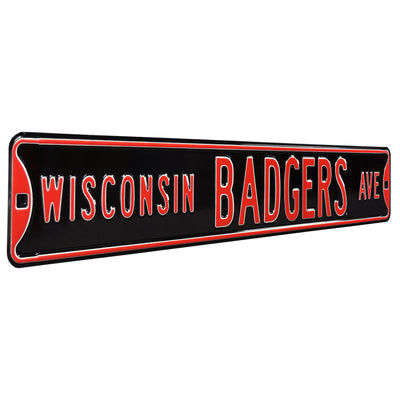 Wisconsin Badgers Steel Street Sign-WISCONSIN BADGERS AVE on Black